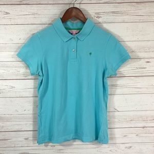 Lilly Pulitzer Teal Blue Polo Shirt Juniors Medium